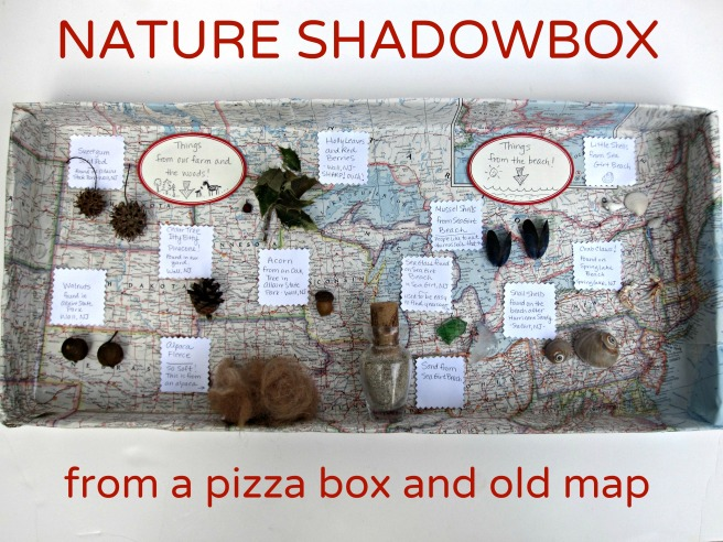 nature shadowbox from a pizza box and old map